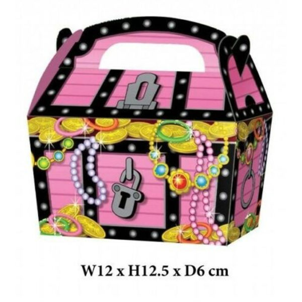 10 x Treat Boxes Cupcake Gift Bags Kids ML Pink Pirate Chest
