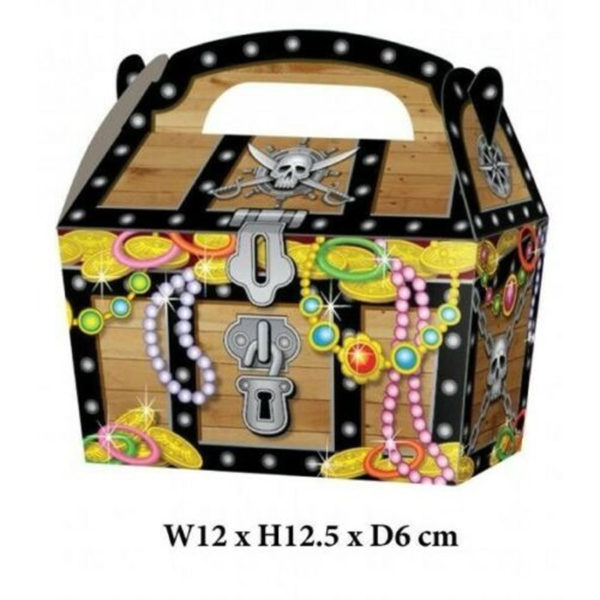 10 x Treat Boxes Cupcake Gift Bags Kids ML Pirate Chest