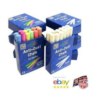 Chalk Sticks Boxed Kids Playground School Art Blackboard Pub White or Colour