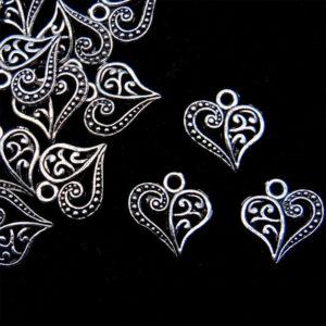 20 Pcs 13mm Tibetan Silver Filigree Heart Pendants Charms J155