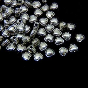 40 Pcs - 5mm Tibetan Silver Dainty Heart Spacer Beads D81