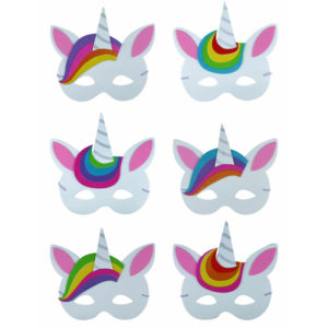 6 Assorted Unicorn Foam Masks Party Bag Fillers
