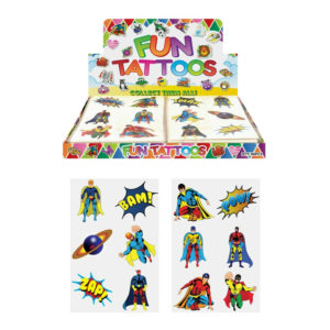 72 Childrens Super Hero Temporary Tattoos Kids Loot Party Bag Fillers