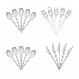 White Plastic Disposable Knives Forks Spoons Cutlery Strong