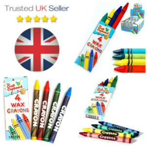 1 -240 Packs 4 Mini Colouring Wax Crayons Kids Party Bags Fillers Toys Lucky Dip