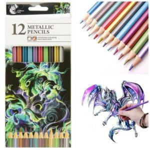 12 Metallic Artist Pencils For Drawing Sketching Shading Draw Tones Shades