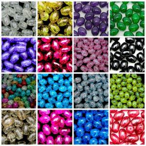 40 Pcs - Oval Glass Crackle Beads Jewellery Craft 10mm x 8mm ML