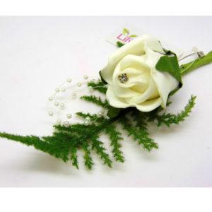 Diamante Foam Romance Bridal Button Hole Artificial Corsage With Lapel Pin ML