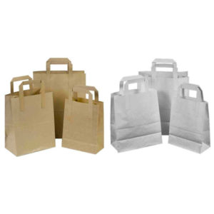 Kraft Paper Brown & White Food Carrier Bags with handles