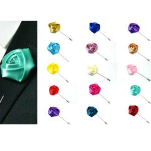 Silk Rose Flower Corsage Boutonniere Stick Lapel Buttonhole Grooms Wedding ML