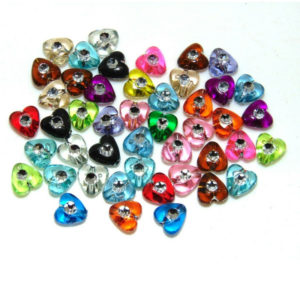 100 Pcs - 8mm Acrylic Heart Spacer Beads Mix Colour Jewellery Craft UK G167