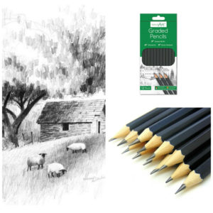 12 Sketching Artist Pencils For Drawing Kids Learn Graded Pencil 6B - 6H Sketch