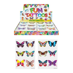 BUTTERFLY KIDS TEMPORARY TATTOOS Assorted Designs Party Bag Filler Loot Girls
