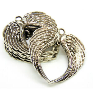 1 - Extra Large Tibetan Silver Angel Heart Wings Pendant Charm Linking 74mm D143
