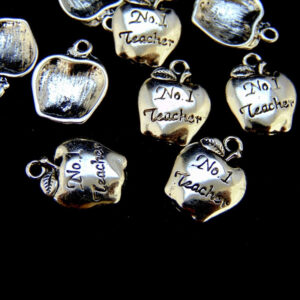 10 Pcs - 10mm No 1 - Tibetan Silver Apple Charms Teacher Fruit Pendant Gift Q70