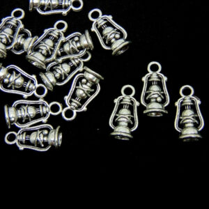 10 Pcs - 20mm Tibetan Silver 3d Vintage Oil Lamp Charms Lantern Camping UK C85