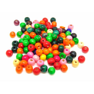 100 Pcs - 10mm X 9mm Mix Colour Round Wooden Beads Jewellery Kids Children Q20