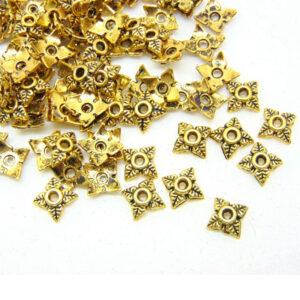 100 Pcs Golden Tibetan Silver Small 6mm Bead Caps Jewellery Craft Findings C165