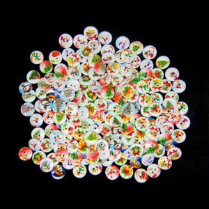 15mm - Xmas Wooden Buttons Christmas Mix Card Making Sewing Scrapbook