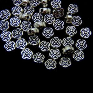 40 Pcs - Tibetan Silver Rose Flower Spacer Beads 7mm Beading Jewellery A143