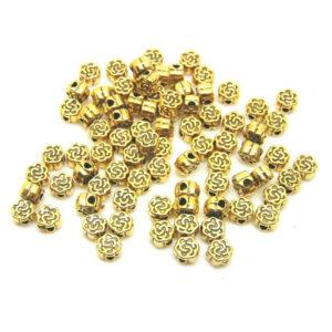 80 Pcs Golden Tibetan Silver 4mm Rose Shape Flower Spacer Beads Jewellery S65